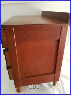 Antique VINTAGE Salesman Sample DOLL CHEST DRAWERS Jewelry BOX Cherry MINIATURE