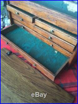 Antique VIntage Oak Wood 7 Drawer Tool Jewelry Chest Machinist Tool Box