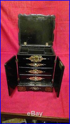 Antique Victorian Black Lacquer with Mother-of-Pearl Jewelry Box