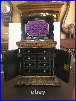 Antique Victorian Black Papier Mache Jewelry Box & Sewing Stunning 12x12x9