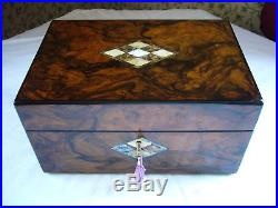 Antique Victorian Burr Walnut Mother Of Pearl & Abalone Inlaid Jewellery Box