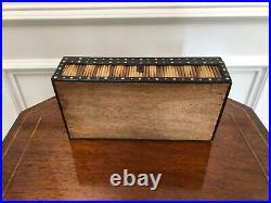 Antique Victorian Ebony Porcupine Quill Dome Top Jewelry Trinket Box Unique