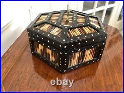 Antique Victorian Ebony Porcupine Quill Hexagon Jewelry Trinket Box W Key