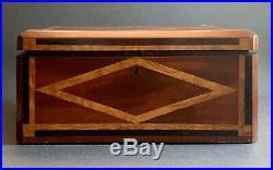 Antique Victorian Inlaid Wood-birdseye Maple-mahagany-ebony-jewelry Box-sophie
