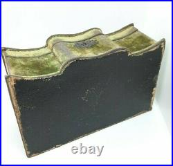 Antique Victorian Jewelry Box Wood Velvet with Tufted Silk Interior 19th c