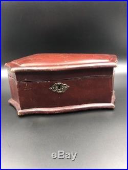 Antique Victorian Jewelry Dresser Wood Box c 1880 Tufted Silk Mini Coffin Casket