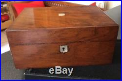 Antique Victorian Mahogany Wood Box Silk Lined Tray Sewing Jewellery Wooden MOP