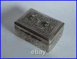Antique Victorian Mourning Silver & Wood Box-with Memento Mori Skulls-19th C