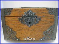 Antique Victorian Oak Jewelry Box Jewels Box withPurple Velvet Lining Casket