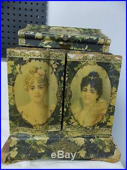 Antique Victorian Ornate Vanity Jewelry Budoir Box Celluloid & Wood & Mirrors
