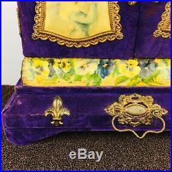Antique Victorian Purple Velvet Celluloid 1800s Dresser Vanity Jewelry Box