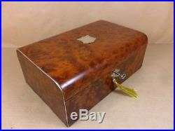 Antique Victorian Rare Amboyna Burr Wood Jewellery/sewing Box. C1880 (c480)