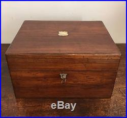 Antique Victorian Rosewood Vanity Box w Silver Plated Bottles & Jewellery Tray