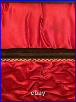 Antique Victorian Shark Leather, Wood, Silk, Rope Jewelry Display Box