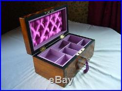 Antique Victorian Walnut Parquetry Inlaid Jewellery Box