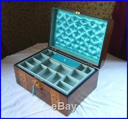 Antique Victorian Walnut Tunbridge / Parquetry Inlaid Domed Jewellery Box