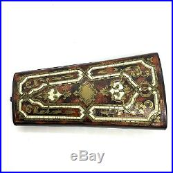 Antique Victorian Wood Bronze Carved Inlay Jewelry Box. 4.3/4 X 2.1/2