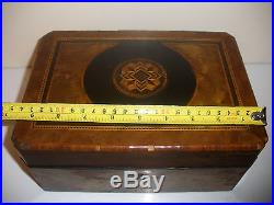 Antique Victorian Wooden Wood Jewelry Marquetry Decoration Box