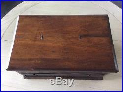 Antique Vintage 10 high 20 x 12 Tool Box, Plank Bottom, 3 Levels, Jewelry Box