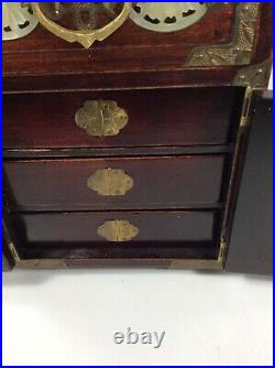 Antique Vintage Asian Wood, Brass & Jade  Jewelry Box withTeal Silk Lining