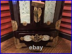 Antique/Vintage Chinese Dark Wooden Jewelry Box w LOCKOrientalAsianRARE