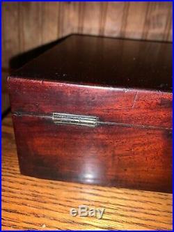 Antique Vintage English Victorian Mahogany Document, Cigar Jewelry Trinket Box