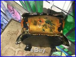 Antique Vintage Italian Hand Painted Tole Florentine Wood Vanity Jewelry Box
