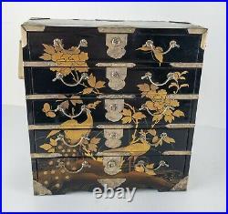 Antique Vintage Japanese Gold Maki-e Lacquered Miniature Dresser Jewelry Box
