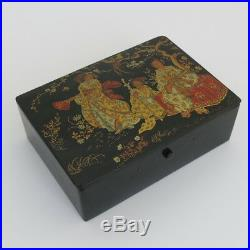 Antique Vintage Japanese Japonism Black Lacquer Trinket Jewelry Box Case Kimono