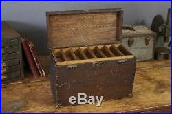 Antique Vintage Machinist Tool Box Wood Tackle Box Primitive Drawers Jewelry etc