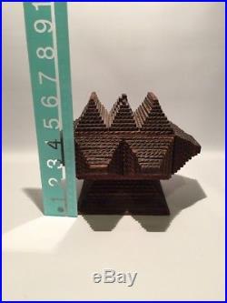 Antique Vintage Tramp Art Folk Pyramid Pedestal Wooden Box Primitive Jewelry