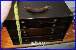 Antique Vintage wood tool machinist chest antique watch jewelry box drawers