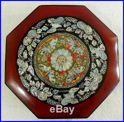 Antique/Vtg Chinese 12 Inlaid Mother of Pearl Octagon Wood Lacquer Jewelry Box