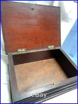 Antique Vtg Fancy Ribbed Wood Large Document Ephemera Jewelry Box withLock
