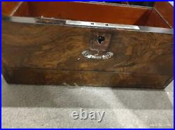 Antique Walnut Box With Secret Drawer and pearl insert on lid