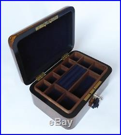 Antique Walnut Burr, Inlay & Mother of Pearl Jewellery Box