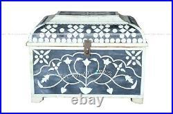 Antique Wood Bone Inlay Jewelry Decorative Box