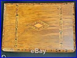 Antique Wood Inlay Design Locking Jewelry Box with Tray and Key MAKE OFFER