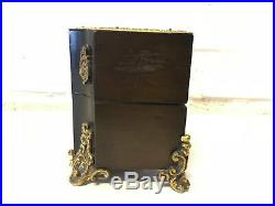 Antique Wood Jewelry Trinket Box with Inlaid Brass & Enamel Decoration