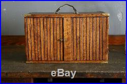 Antique Wood Machinist Tool Box Chest Old Brass Hardware 8 drawer Jewelry box