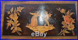 Antique Wood Marquetry Trinket Box Case Book Shape Casket Jewelry Box