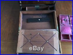 Antique Wood Mother of Pearl Ladies Sewing Jewellery Writing Slope box