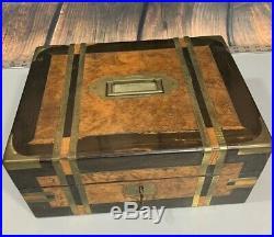 Antique Wood Vanity Box 1863 Sterling Mirror Jewelry Vanity Make Up Vtg Ingraved