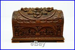 Antique Wooden Master Craftsman Hand Carved Ornate Treasure Chest Jewelry Box