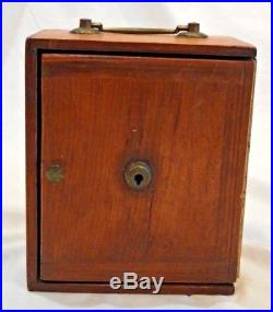 Antique Wooden Travel Jewelry Box or Case with Labeled Drawers & Booklets