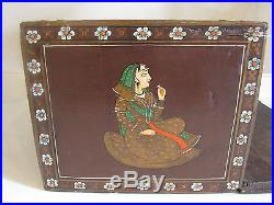 Antique Woodenware Storage Box Primitive Spice Indian Painted Tobacco Jewelry
