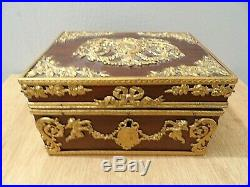 Antique X Fine French Bronze Mounted Box Cherubs Cameo Louis XVI Paris Jewelry