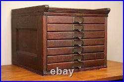 Antique Yawman & Erbe 7 Drawer Wood File Cabinet Library drafting Jewelry Box