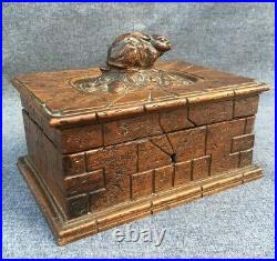 Antique black forest jewelry box made of wood early 1900's Germany rabbit