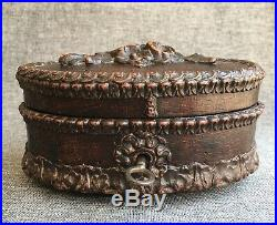 Antique black forest wood jewelry box early 1900's with original key Germany